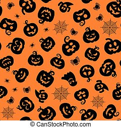 Halloween design. Halloween symbols: ghost, spider, pumpkin in cartoon style. Vector Illustration