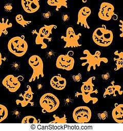 Seamless vector pattern for Halloween design. Halloween symbols: ghost, spider, pumpkin in cartoon style. Vector Illustration.