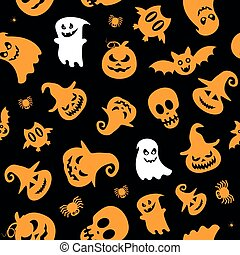 Seamless vector pattern for Halloween design. Halloween symbols: ghost, spider, pumpkin in cartoon style. Vector Illustration