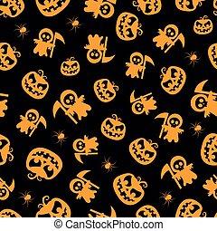 Seamless vector pattern for Halloween design. Halloween symbols: pumpkin, spider, death in cartoon style. Vector Illustration