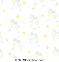 Seamless vector pattern, glasses of champagne