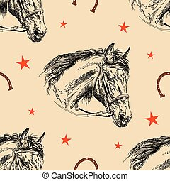 Seamless vector pattern horse head