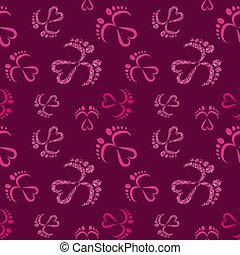 Seamless Vector Pattern of Baby Feet  and Heart with glitter effect