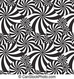 Seamless vector pattern of black and white stylized umbrellas
