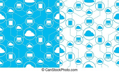 Seamless vector pattern of cloud computing devices -...