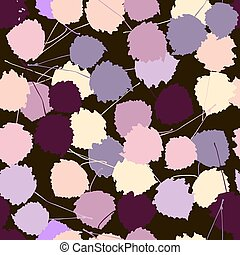 Seamless vector pattern of colorful aspen leaves on a dark brown background