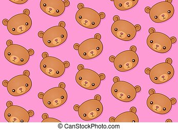 Seamless vector pattern of cute pink teddy bears