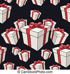 Seamless vector pattern of gift boxes on a black background