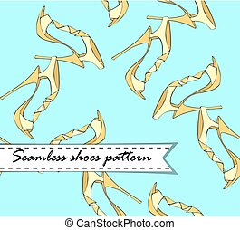 Seamless vector pattern of hand drawn shoes. Yellowon blue