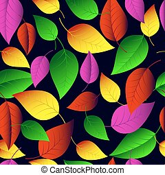 Seamless vector pattern of many-colored leaves.