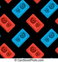 Seamless vector pattern of red and blue cassettes