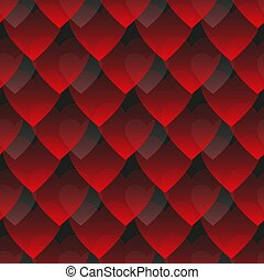 Seamless vector pattern of red and gray gradient hearts on a dark background
