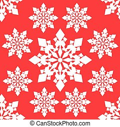 Seamless vector pattern of white snowflakes on red background