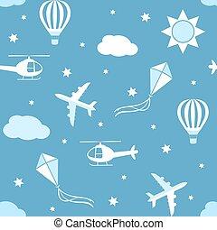 Seamless vector pattern sky background