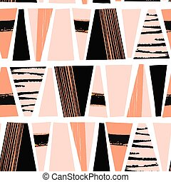 Seamless vector pattern Textured abstract shapes. Black and light pink trapezoids repeating background. Modern art tribal style shapes in horizontal rows.
