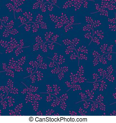 Seamless vector pattern, trend colors. Elegant branches with pink leaves on blue background.