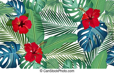 Seamless vector pattern tropical leaves with red hibiscus flower on white background