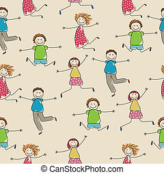 Seamless Vector Pattern with Abstract People