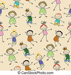 Vector Pattern with Abstract People