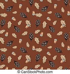 Seamless vector pattern with autumn leaves, acorns and cones on brown background. Design perfect for wallpaper, wrapping paper, card, textile