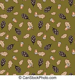 Seamless vector pattern with autumn leaves, acorns and cones on green background. Design perfect for wallpaper, wrapping paper, card, textile