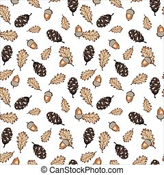 Seamless vector pattern with autumn leaves, acorns and cones on white background. Design perfect for wallpaper, wrapping paper, card, textile