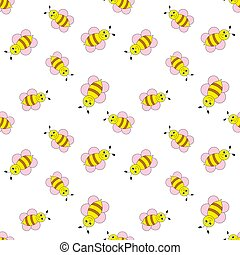 Seamless vector pattern with bees.