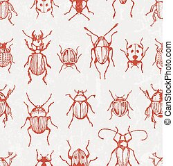 Seamless vector pattern with beetles