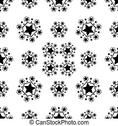 Seamless vector pattern with black and white stars of various sizes on white background. Childish background for postcards, wallpaper, papers, textiles, bed linen, tissue 1.2v