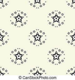 Seamless vector pattern with black and white stars of various sizes on white background. Childish background for postcards, wallpaper, papers, textiles, bed linen, tissue 1.2