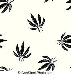 Seamless vector pattern with black marijuana leaves on white