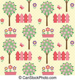 Seamless vector pattern with blooming