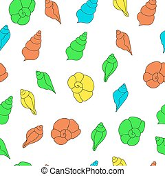Seamless vector pattern with bright seashells on the white background