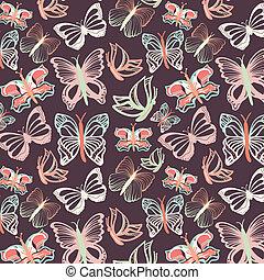 Seamless vector pattern with butterflies