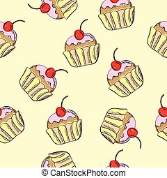 seamless vector pattern with cakes
