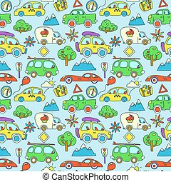 Seamless vector pattern with cartoon cars