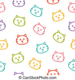 Seamless vector pattern with cats.