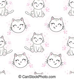 Seamless vector pattern with cats. Smiling cute cats background.