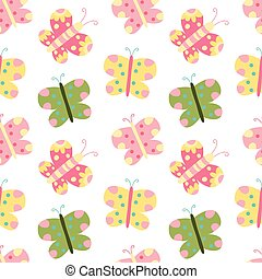 Seamless vector pattern with colorful butterflies on white background