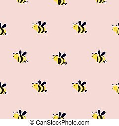 Seamless vector pattern with cute bees on a pink background.