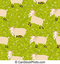 Seamless vector pattern with cute goats