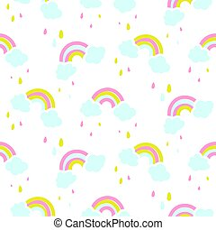 Seamless vector pattern with cute rainbow and clouds.