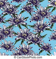 Seamless vector pattern with daisies. sketch hand draw