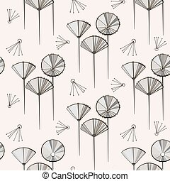 Seamless vector pattern with dandelions