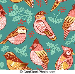 Seamless vector pattern with decorative birds and holly berries