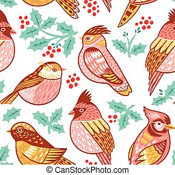 Seamless vector pattern with decorative birds and holly leafs
