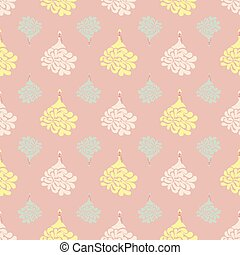 seamless vector pattern with dolls in princess dresses on powder pink background