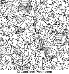 Seamless vector pattern with doodle bow-ties on white background