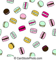Seamless vector pattern with doodle sweet french macarons.