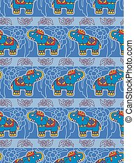 Seamless vector pattern with elephants.
